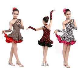 Wholesale dancewear latin dress - Leopard zebra Grain Latin Children Kids Girl Dancewear Performance Dancing Dance Costume Competition Latin Dance Dress For Girls