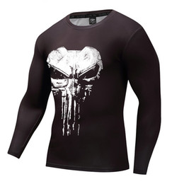 Wholesale Long Body T Shirts Men - 2018 New Cosplay Fitness Body Building Tshirt Male Crossfit Tops Compression Long Sleeve Shirt 3D Skull Print punisher T-shirt