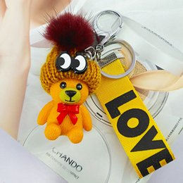 Wholesale Ball Bearing Keychain - Designer Valentines Days Gifts Bear Lanyard Keychain Phone Handbag Women bag Car Accessories Love Pink lanyards Key Chains Toys Party Favors