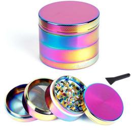 2019 tela do arco-íris Rainbow Metal Grinder Liga de Zinco moedores de tabaco de erva seca para cachimbos 55mm 4 peças com Tela mix Cores Vaporizador E Cigarro tela do arco-íris barato