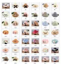 Wholesale Straw Hats For Girls - Wide brim hats large floppy hats foldable straw hat summer beach hat for lady sunscreen cups outdoor sun hats 42 styles FSH0001