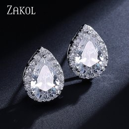 2019 кристаллический кристалл ZAKOL Fashion Big Pear Cubic Zircon Stud Earrings with Tiny Crystal Exquisite Sliver Color Bridal Wedding Jewelry Aretes FSEP001 дешево кристаллический кристалл