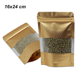 sellos de lámina de oro Rebajas 16x24 cm Oro Levántese Papel Mylar Estampado en relieve Empaquetado Empaquetado Bolsas de plástico Ventana Sellado automático Caja de almacenamiento de alimentos Doypack de aluminio
