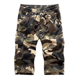 Wholesale Combat Cargo Shorts - 2017 Summer Mens Combat Work Cargo Shorts Casual Shorts Fashion Multi Pockets Camouflage Army Green Cotton Large Size 4XL