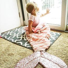 Joli sac de couchage en gros en Ligne-Canapé-lit douillet couverture de sirène gros-mignon pour enfants bébé Crochet couverture de sirène jeter lit Wrap sac de couchage