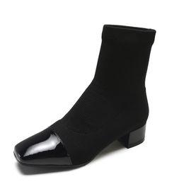 Canada Sexy Femmes Cheville Chaussette Bottes 2018 Nouveau Court Tricotant Botte Partie Talons Hauts Casual Plate-Forme Chaussures Femme Taille 35-39 supplier ankle boots for short women Offre