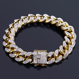 "Wholesale male african jewelry - Hip Hop Male Jewelry Bracelet Copper Iced Out Gold Color Plated CZ Stone 14mm Chain Bracelets with 7"" 8"" Two Sizes"