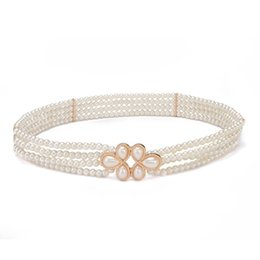 Wholesale elastic chain belt - Fashion Lady Elastic Belt With Diamond Pearl Buckle Waist Chain Exquisite Women Straps Creamy White Color 10xf B