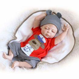 Wholesale Latex Fashions For Kids - Wholesale- Lifelike Newborn Baby Doll Full Silicone Body Fake Sleeping Boy Doll 23-Inch for Mommy Kids Nursery Training