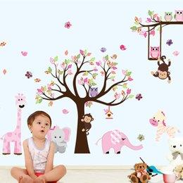 Son XXL Karikatür Hayvanlar Hayvanat Bahçesi Baykuş Kelebek Maymun Duvar Çıkartmaları Çocuk Odası Ev Dekor için Renkli Ağacı Çıkartması Sopa Duvar Y18102209 cheap owl monkey room decor nereden baykuş maymun odası dekor tedarikçiler