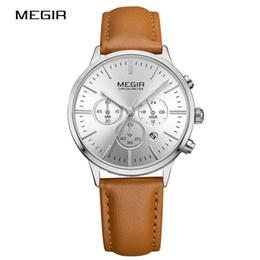 Wholesale Super Slim Watches - MEGIR Super Slim Quartz Wristwatch Women Business Genuine Leather Casual Quartz Watches