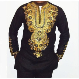 Wholesale african clothing men - New African clothing African dashiki style national wind printing V-neck long sleeve men's T-shirt Plus size free shipping