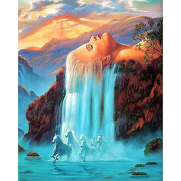 Wholesale Decoration Pictures - Coloring By Numbers Fantasy Waterfall and Horse Hand Paint on Canvas Home Decoration Diy Digital Painting Wall Art Picture