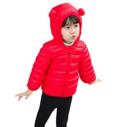 2019 baby boy snow coat Baby Boys Jacket 2018 Chlidren Boys Girl Abrigos de invierno Chaqueta Niños ZipThick Ears Snow Hoodie Ropa # 40 rebajas baby boy snow coat