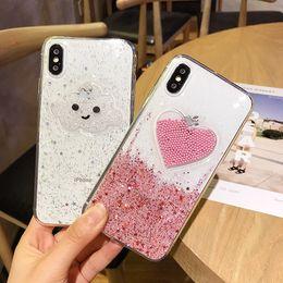 Capas de telefone de sorriso on-line-Liquid heart glitter pó sorriso rosto nuvens casos de telefone para iphone 6 6 s 7 8 plus x ice cream macio tpu contas dinâmicas de volta cobrir