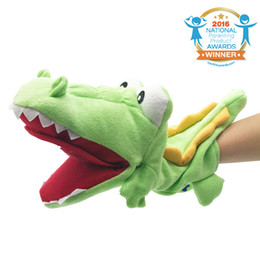 Wholesale Plush Alligators - Lovely Crocodile Hand Puppet With Mouth Pocket Design -Green Plush Alligator Stuffed Cayman Soft Toy For Baby Kids Gift