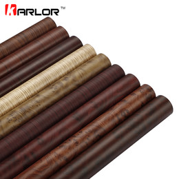 Wholesale Furniture Stickers Decals - wholesale 50x200cm Color Change Wood Grain Vinyl Film Furniture Wood Grain Textured Decal Car Internal Self-adhesive Sticker Car Styling