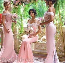 Wholesale Long Sleeve Blush Wedding Dresses - Blush Pink Mermaid Bridesmaid Dresses 2018 Off Shoulder Sweetheart Backless Sweep Train Cheap Real Images Wedding Guest Party Gowns Custom