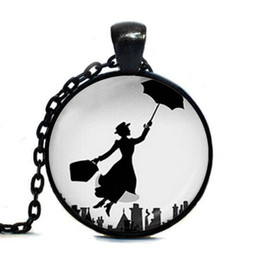Wholesale Mary Gifts - Mary Poppins Pendant Necklace classical movie chain Jewelry womens mens gift vintage antique charms necklaces lady umbrella fly