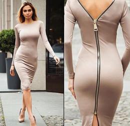 Femmes Sexy Dos Nu Robe Genou Retour Zipper Motif Une Pièce Soirée Vin Rouge Moulante Robes ? partir de fabricateur
