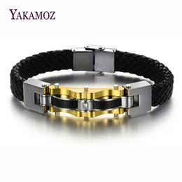 Wholesale Titanium Bracelets For Mens - whole saleFashion Brand Black Woven Leather Bracelets For Men High Quality Titanium Steel Charm Bracelets Father's Gift Mens