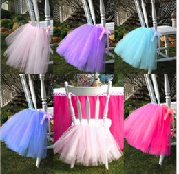 Wholesale Tulle Chair Covers - Tutu tulle chair Skirt wedding back tutu chair Cover ribbon border customized length for Party Birthday decorations baby shown