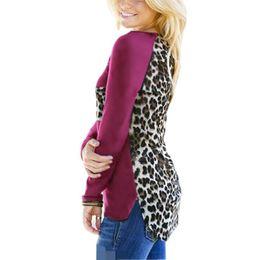 Wholesale Women Basic Chiffon Blouse - Loose Plus Size Sexy Leopard Chiffon Blouse Long Sleeve 2017 Casual Tops Pocket Women Blusas Shirts Basic Tops Oversize J6123