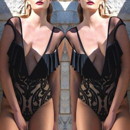 Wholesale Swimming Wear For Girls - Sexy Deep V Neck One Piece Swimsuit Mesh Swimsuits Ruffle Swimwear One-Piece swim wear Biquini 2018 Swimming Suit For Girl