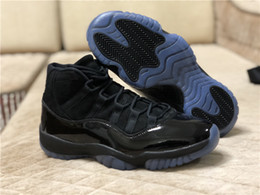 Wholesale prom shoes size 11 - Wholesale New 11 Prom Night black blue men basketball shoes XI 11S trainers sports sneakers outdoor TOP quality size 8-13