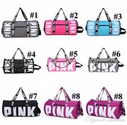 Wholesale Travel Clothes Bags - Big Promotion!! 8 colors Pink Letter Duffel Bags Women Handbags Large Capacity Travel Duffle Striped Waterproof Beach Bag Shoulder Bags