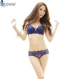 3fae5afa3ab32 Wholesale-Lady Women Girls Lace Floral Satin Bra Underwear Underwire Push  Up Bra Set Black Blue Red White Pink