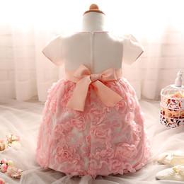 vestido de comunión escote ilusión Rebajas Nuevo vestido de bautismo de 100 días, vestido de bebé, bebé, vestido de princesa rosa Nuevo estilo