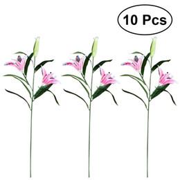 Wholesale Home Decor Silk Flower Arrangements - 10PCS Real Touch Realistic Artificial Lily Flowers Fake Flowers Home Office Decor Wedding Bridal Bouquet Silk Flower Arrangement