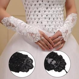 Luva curta de cetim on-line-Partido Fingerless Lace Satin Parágrafo Curto Strass Nupcial Luvas De Casamento