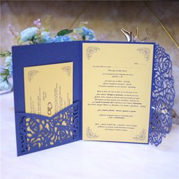Wholesale Gray Invitations - Many Color Customized Wedding Invitations Blue Laser Cut Wedding Party Invitation Cards with Envelope+RSVP Card Wedding Supplies