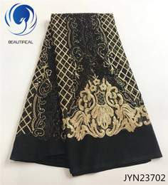 Wholesale tulle fabric for sale - BEAUTIFICAL embroidery lace fabric black tulle lace fabric and gold sequins Hot sale nigerian net lace for big occsion JYN237