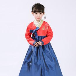 Roupa tradicional coreana on-line-Hanbok nacional da roupa tradicional coreana para a criança Traje étnico Hanbok tradicional da roupa bordada para o desempenho das meninas
