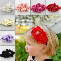 Wholesale hair pieces for babies - Popular Hair Flower For Baby Headpieces Kids Rhinestone Head Pieces Accessories Girls Headband Children Hair Band Wedding Fascinator Gift