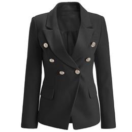 Cappotto bianco doppio online-BNWT Top Quality Original Design donna Branded Ladies Giacca a doppio petto Slim fibbie in metallo Blazer Outwear Coat Bianco / Nero / Rosa