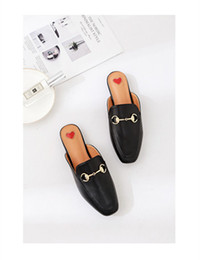 Wholesale Women Fashion Shoes Large Size - European station new metal clasp, half - towed flat slippers large size women's shoes.