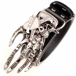 2019 correia da mão da forma dos homens Garra fantasma Fresco Mens Cinto de Alta Qualidade Fivela de Metal Estilo Osso de Mão Masculino Cinto Cintas de Couro Genuíno Luxo Cinturão Do Punk Moda Cintos correia da mão da forma dos homens barato