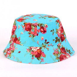Wholesale Boys Choice - Women Summer New Stylish Floral Print Canvas Sun Hat Outdoor Anti-Ultraviolet Cap With 16 Patterns For Choice