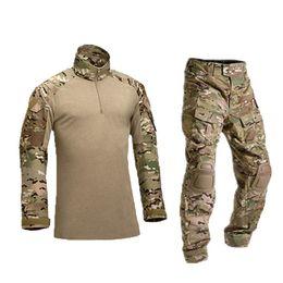 kampfanzug armee Rabatt Taktische Tarnung Uniform Kleidung Anzug Männer US Army kleidung Kampfhemd + Cargo Pants Knieschützer