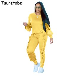 9afeed7b004 Tsuretobe Plus size Two Piece Ruffles Jumpsuits Women Rompers Long Sleeve  Winter Women spring Outfits Casual Party Overalls