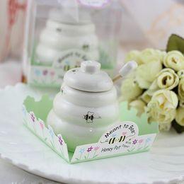 Wholesale Honey Pot Meant Bee - Wholesale- Free Shipping 100 pcs Ceramic Meant to Bee Honey Jar Honey Pot Wedding favors   Baby shower favors
