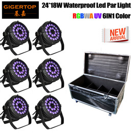 Wholesale Pc Sound Bar - Freeshipping 6IN1 Road Case Pack Stage Lighting Par Light 24x18W LED RGBWAP 6 10 Channel for DJ KTV Disco Party Bar (6 PC) 110V-220V