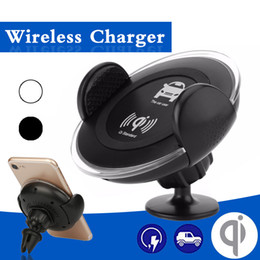 Wholesale Cell Phone Car Usb Charger - Cell Phone Car Charging Holder Universal Stand for iPhone 8 Samsung S8 360 Degree Bracket Micro USB Charge Fast Wireless Charger