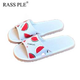 5d834fb4f1a3e9 fruit slippers Canada - RASS PLE fruits Linen Beach Slippers Cheap Slides  Open Toe Women Floor