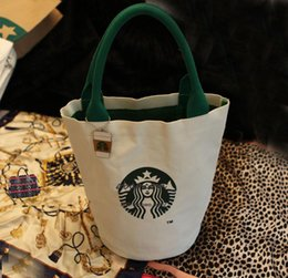 Wholesale Cute Handbag Brands - Wholesale-Women Famous Starbucks Cute Shopping Handbag Ladies Fashion Brand Designers Lunch Bag Free Shipping High Quality Canvas Tote