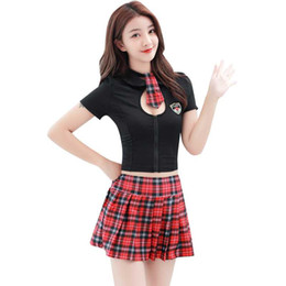 Vestido de lycra preto on-line-Frete Grátis New lingerie sexy cosplay sexy britânico xadrez doce estudante vestindo preto oco divisão uniforme de tração uniforme cheerleading footb